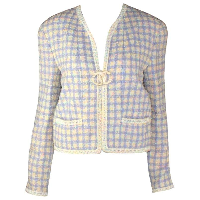 64ad172ffb2 For Sale on - Beautiful Chanel tweed jacket In amazing pastel colors  Signature trimming with long white stick embroidery From the 1994  collection Seen on ...