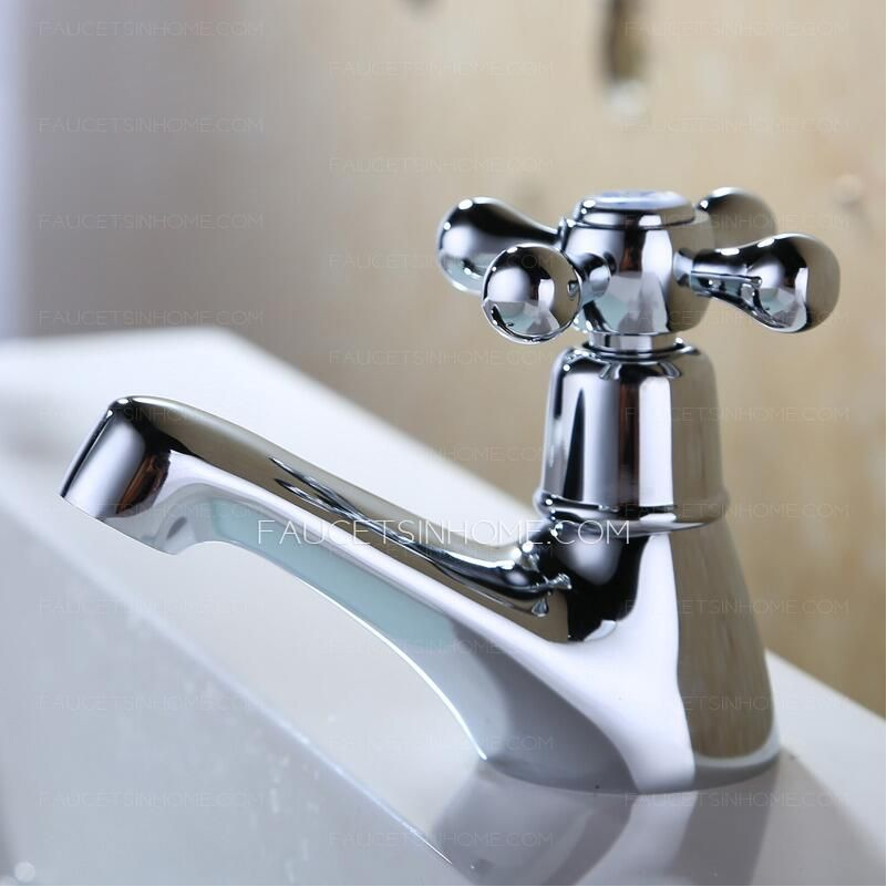 Small Single Cross Handle Cold Water Bathroom Sink Faucet Sink