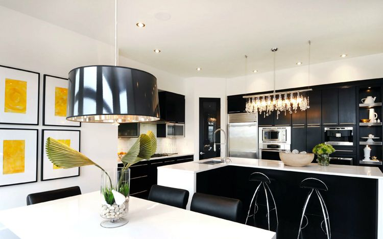 Black White And Yellow Kitchen And Dining Area By Atmosphere