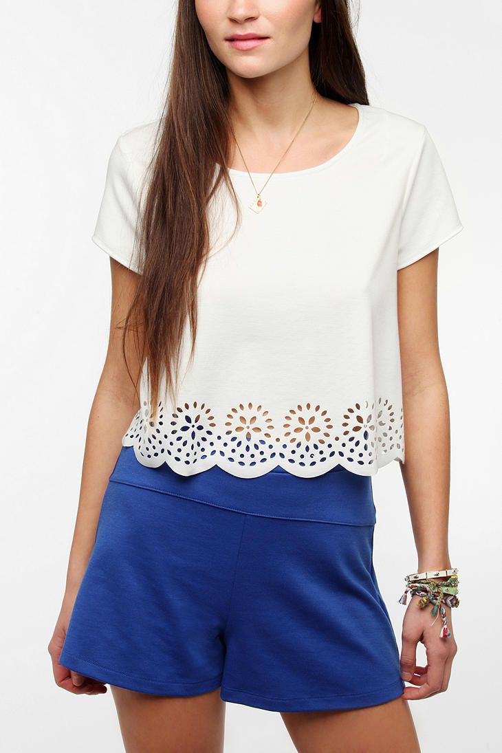 Pins And Needles Laser-Cut Cropped Top   #UrbanOutfitters