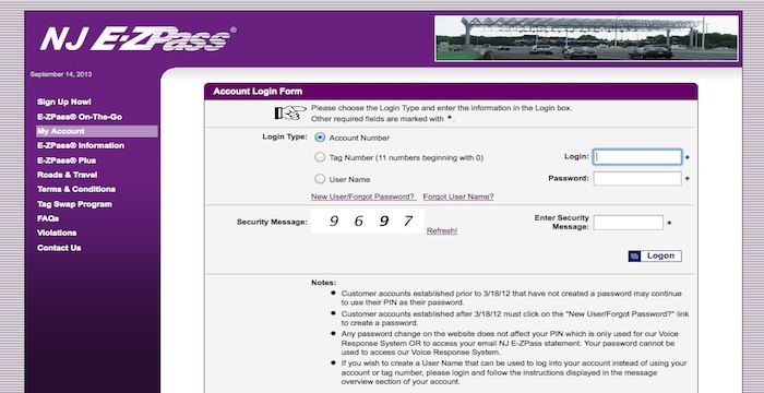 NJ EZ Pass Login | Login Archives | Ez pass, Login form