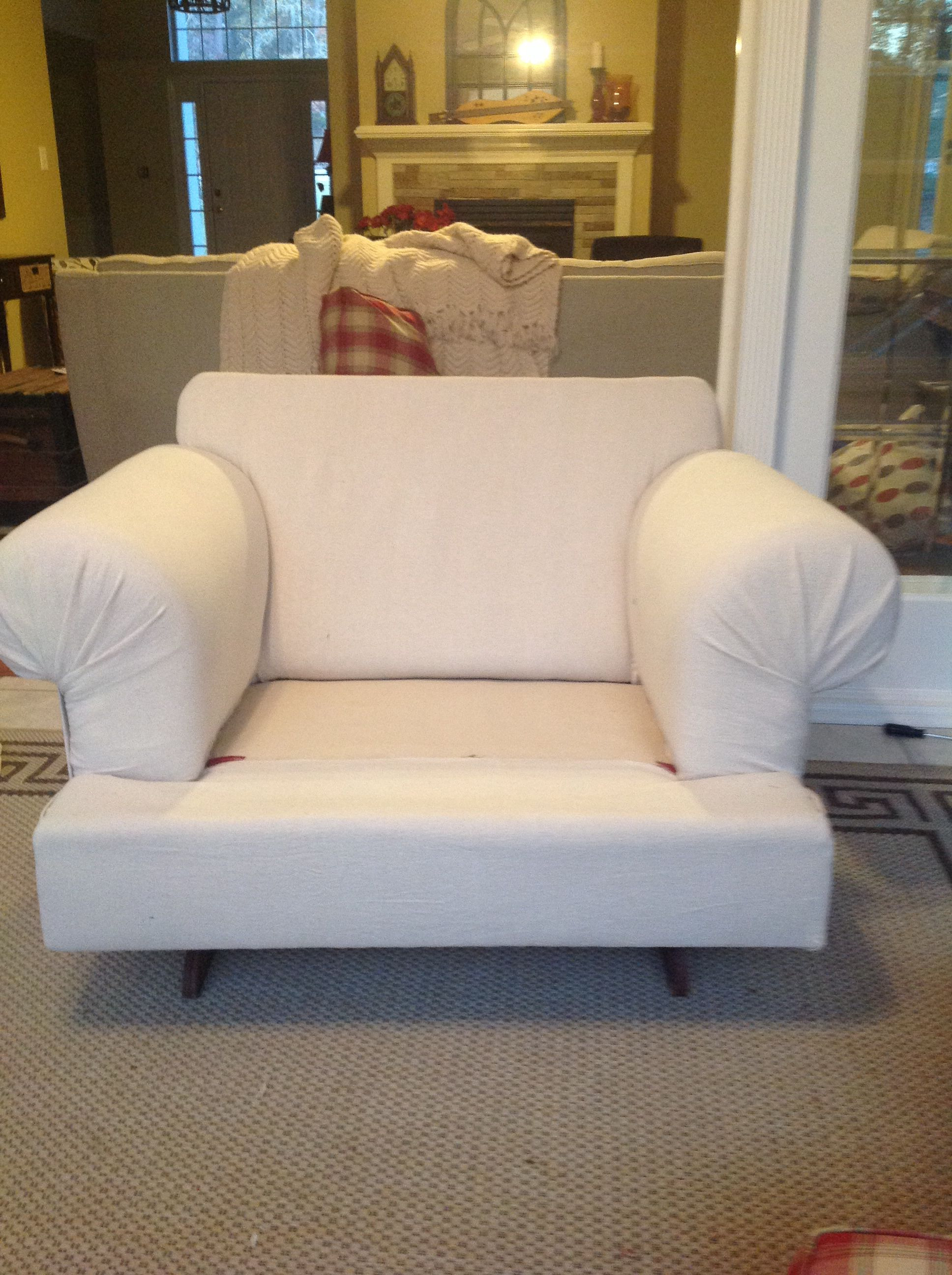 diy chair slipcover no sew white covers walmart arms seat back and based covered with painters drop cloth