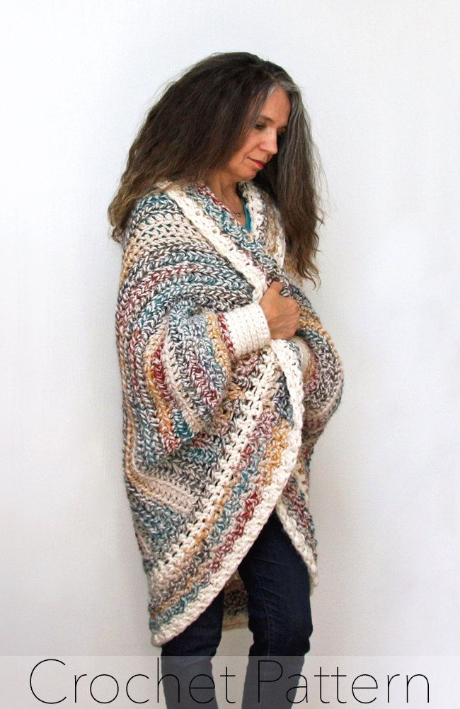 Crochet Shrug Pattern Oversized Cardigan Sweater Chunky Knitwear