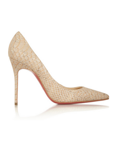 ca69477eae08 Christian Louboutin décolleté 100 snake-effect cork pumps ...