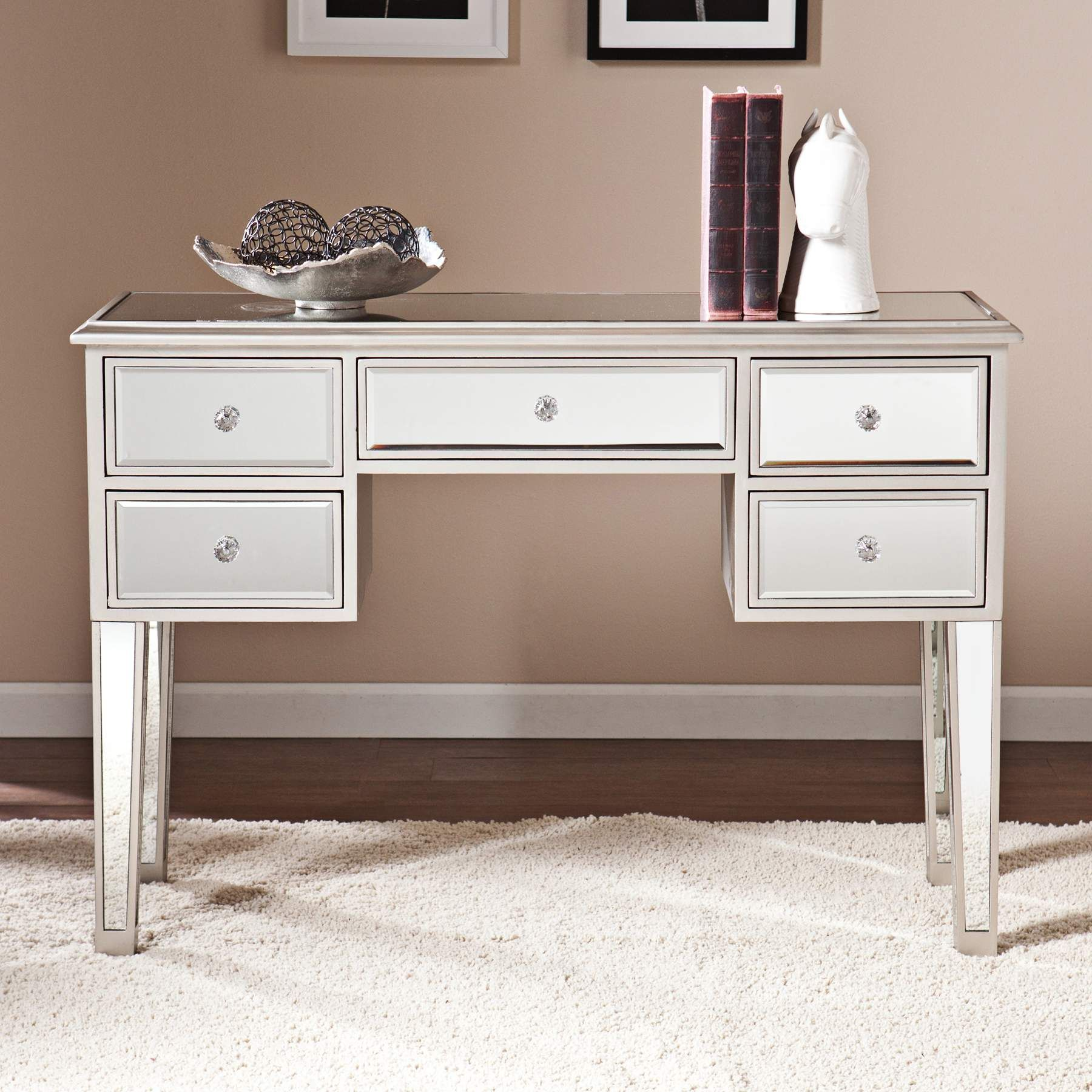 Mirage 43 Inch Wide Mirrored 5 Drawer Console Table Desk With