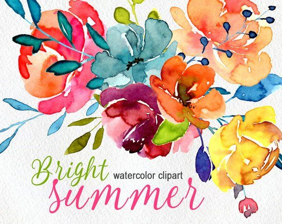 Watercolor Flowers Clip Art Hand Painted Floral Png Bright Etsy Floral Painting Watercolor Flowers Flower Clipart