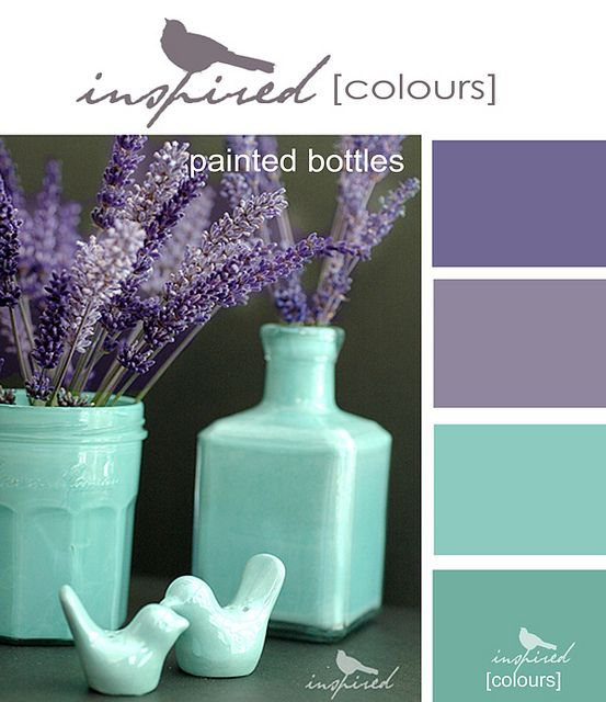 Inspired Colors Painted Bottles Bottle Painting Room Colors Colour Schemes #purple #and #teal #living #room