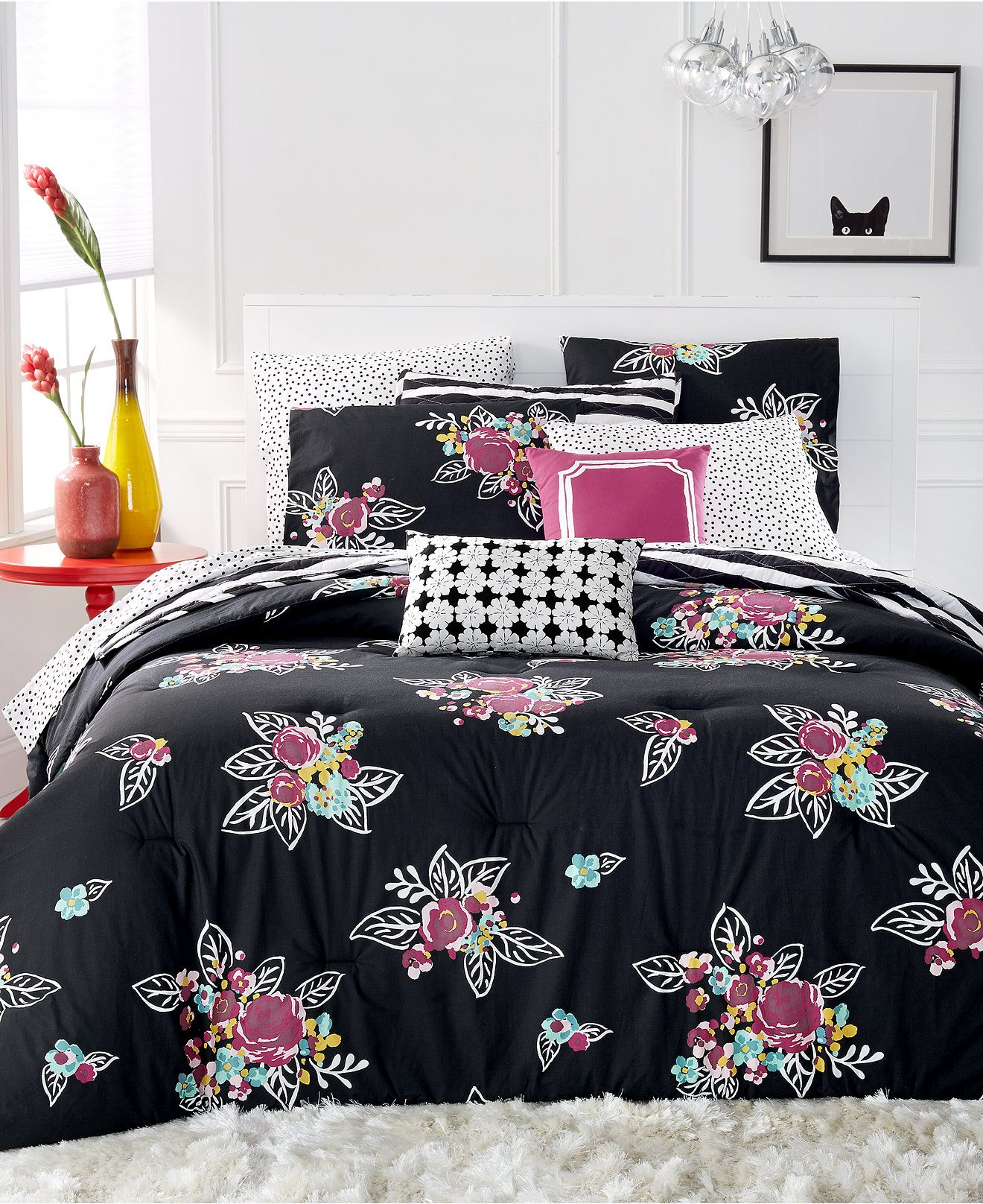 Black and pink bed sheets - Martha Stewart Collection Whim Night Blooms 4 Pc Twin Twin Xl Comforter Set Bed
