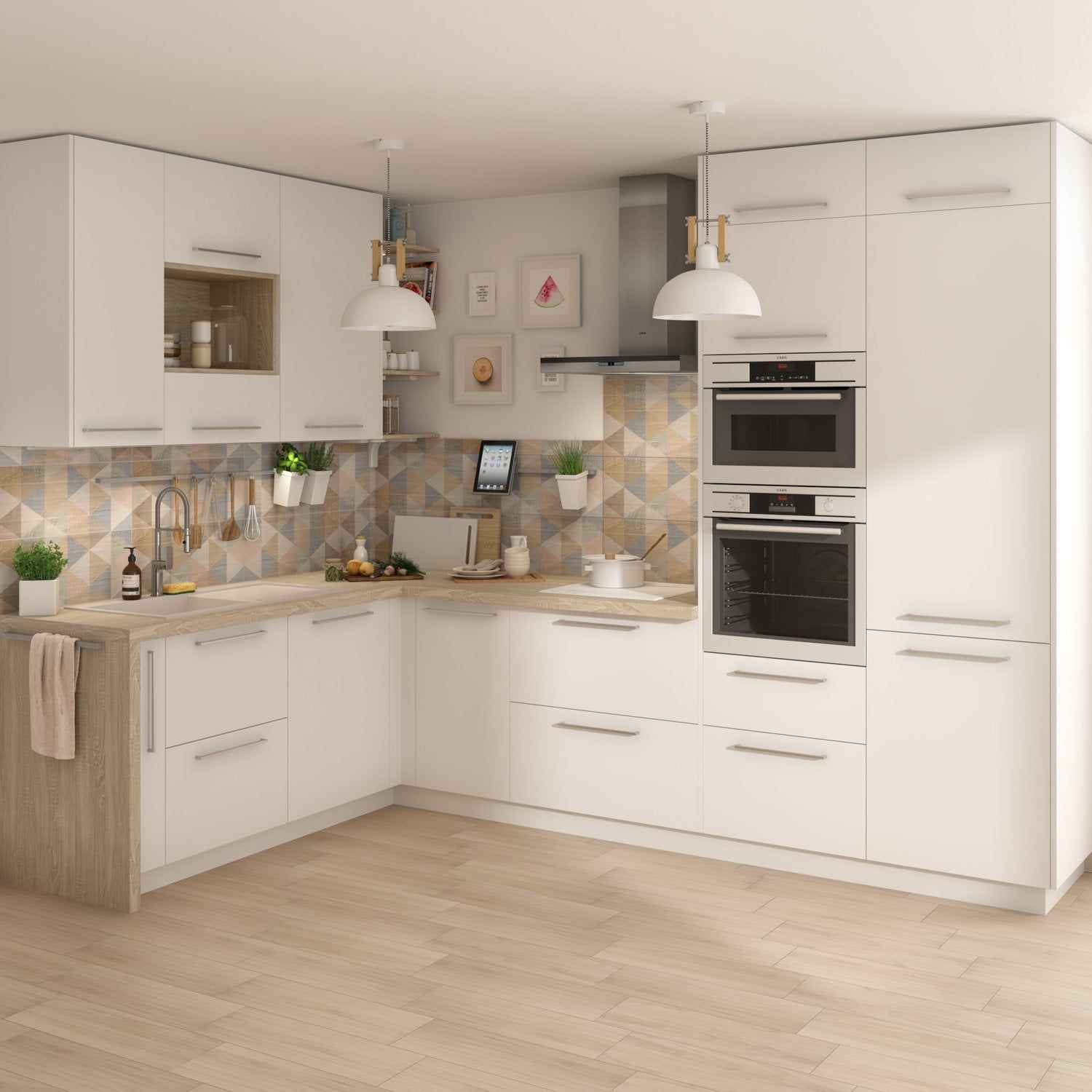 Cuisine Blanche Indemodable Et Lumineuse Leroy Merlin En 2020 Meuble Cuisine Meuble Bas Cuisine Cuisine Moderne Blanche