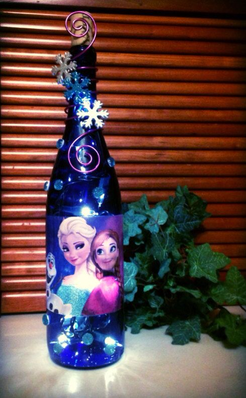 Frozen Elsa and Anna Bottle Light Disney Movie Lamp Olaf Ice ...
