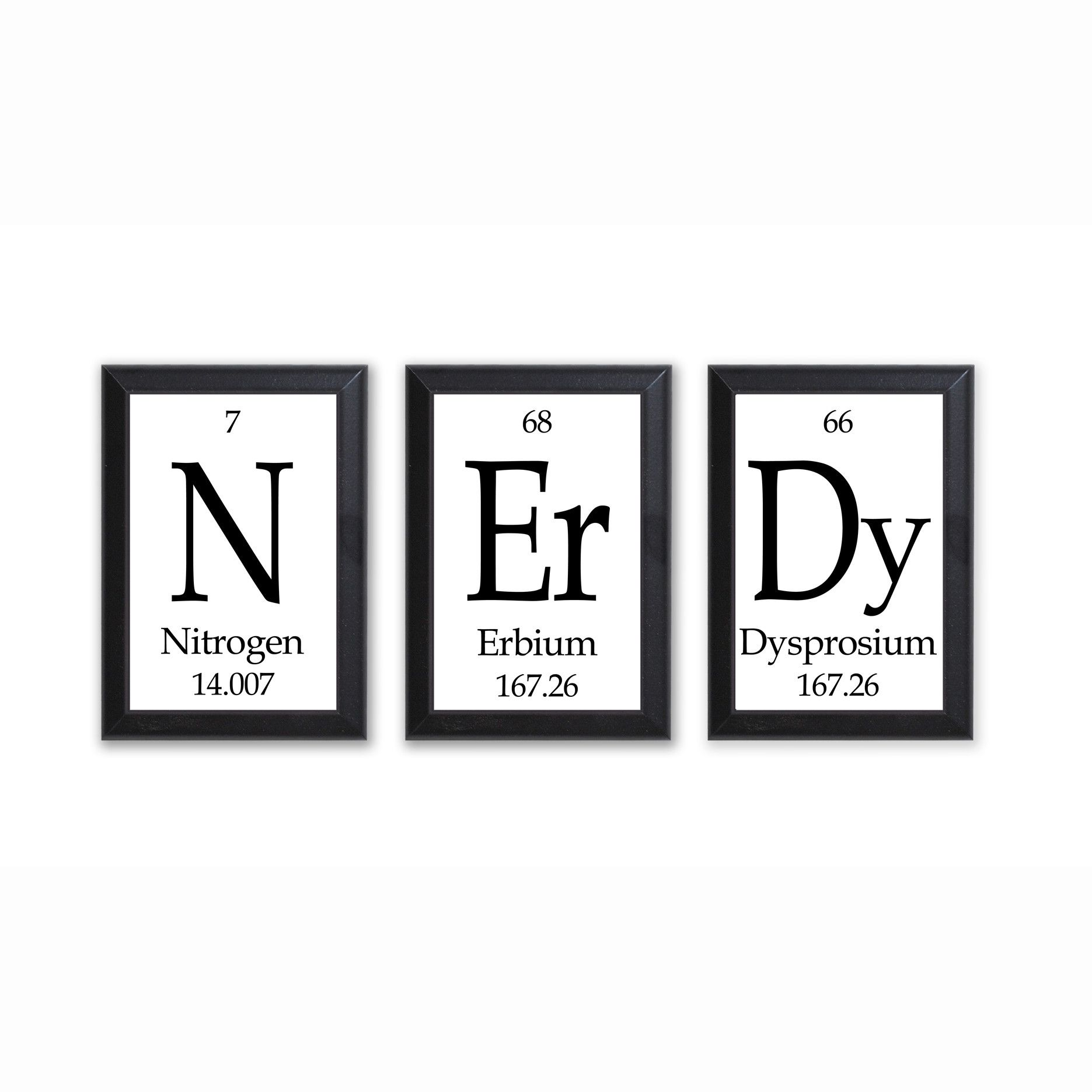 Nerdy Kitchen Accessories: Nerdy Periodic Table Framed 3 Piece Wall Plaque Set Each