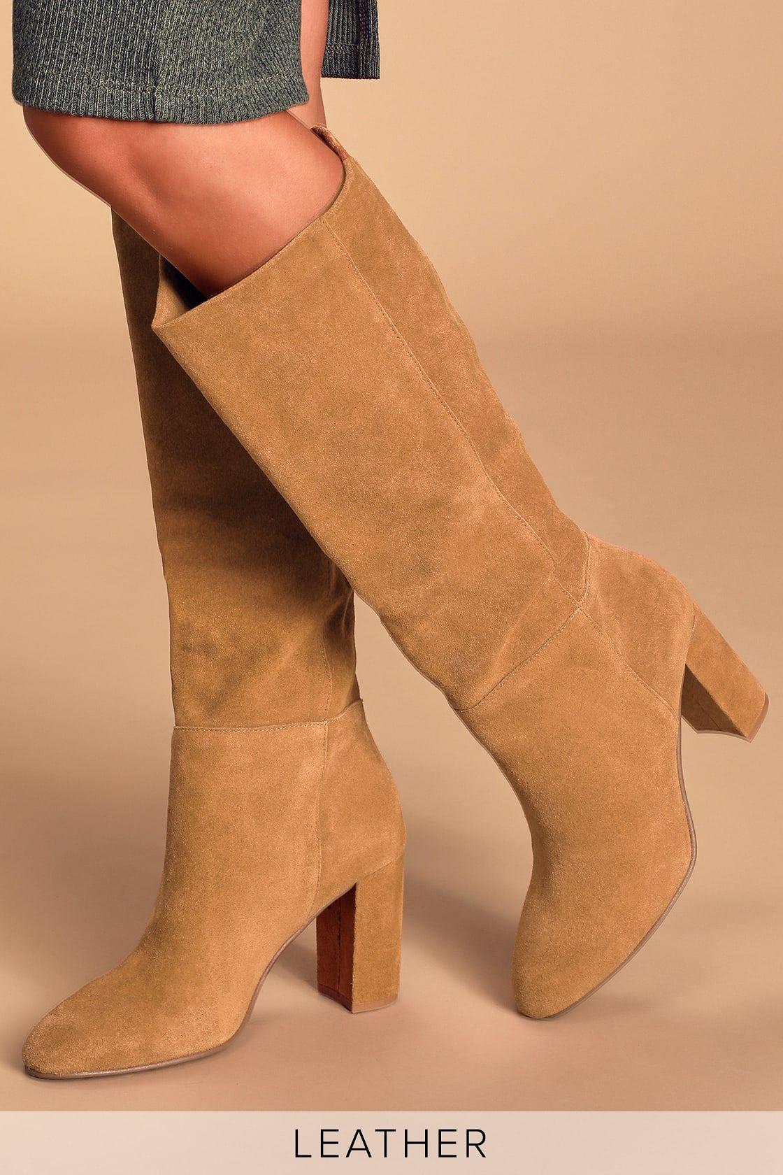 Krafty Honey Brown Suede Leather Knee High Boots Boots Womens Suede Boots Knee High Leather Boots
