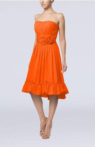 Tangerine Vintage A-line Sweetheart Sleeveless Knee Length Bridesmaid Dresses - iFitDress.com