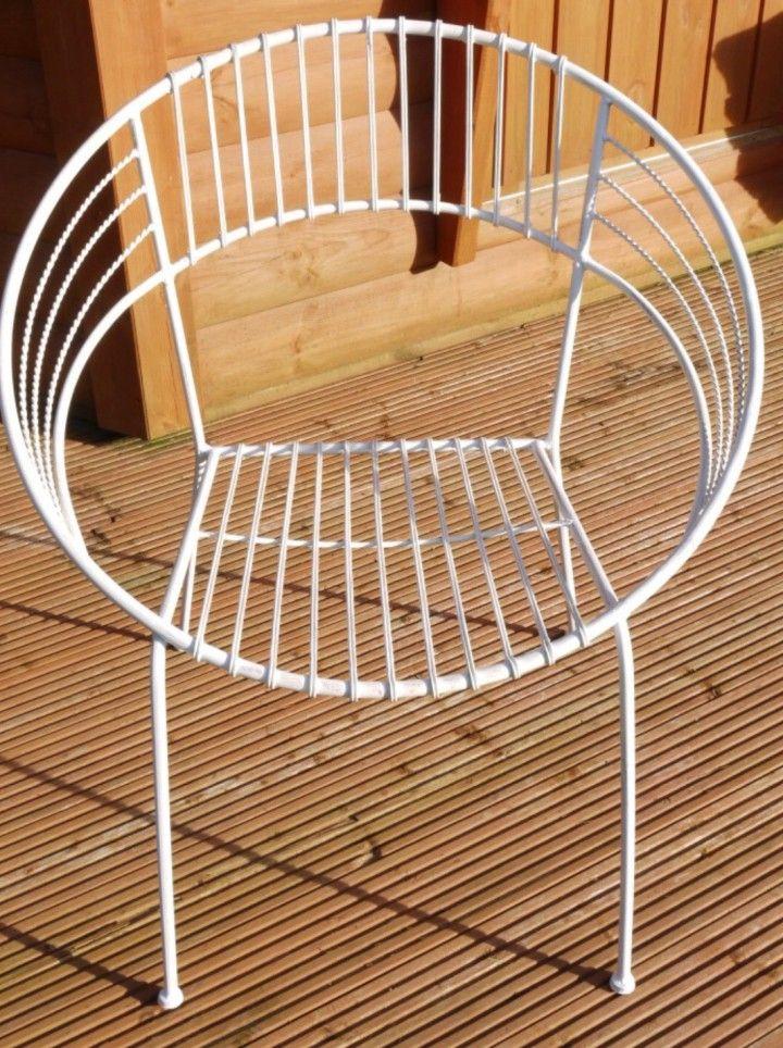 Superb White Metal Tub Chair Retro