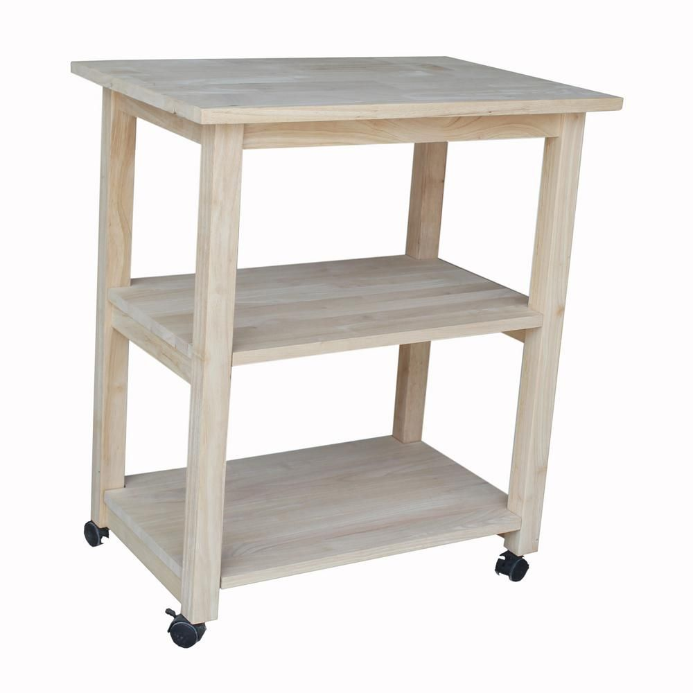 unfinished kitchen cart flooring lowes with shelf pinterest carts international concepts 185 the home depot