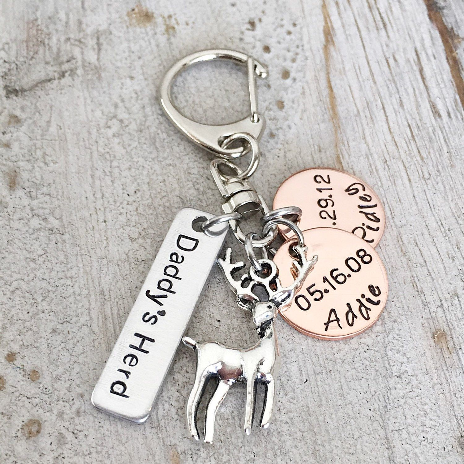 Daddys herd personalized deer hunting keychain gift for