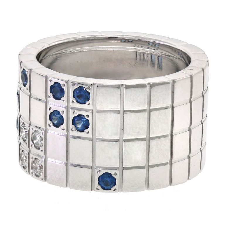 CARTIER Modernist Sapphire and Diamond Ring   From a unique collection of vintage band rings at http://www.1stdibs.com/jewelry/rings/band-rings/ 3.2 K USD