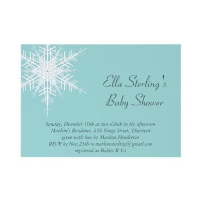 Winter Snowflake Turquoise Baby Shower Invitation by prettyfancyinvites