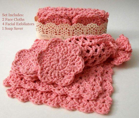 Eco Friendly, Multipurpose, Hand Crocheted Cotton Spa Set, Bath Set, Baby Shower, Gift Set, Rose241