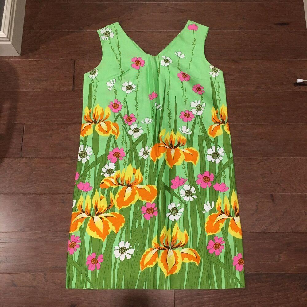 Aloha Authentic Hawaiian Originals Vintage 60s Floral Shift Mini Dress Large Ebay Mini Shift Dress Muumuu Dress Aloha Dress