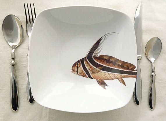 fishy fish square bowl   poisson punk by MilestoneDecalArt on Etsy, $38.00