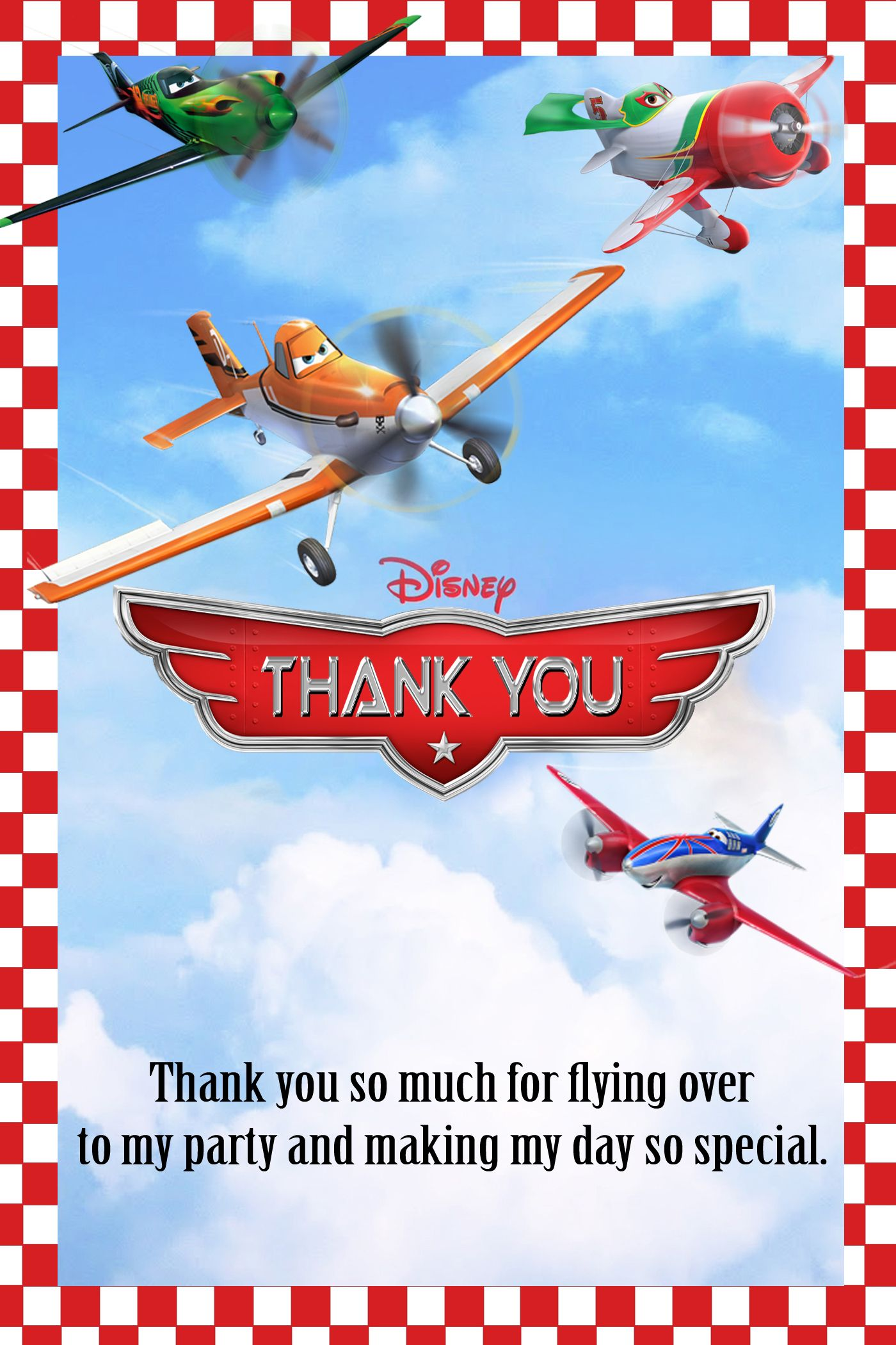Disney Planes Birthday Thank You Card $3.99 | Disney Planes Fire and ...