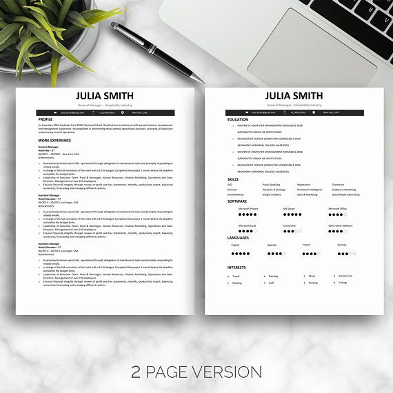 3 Page Resume Template, CV Template For Word, 2 Page Resume