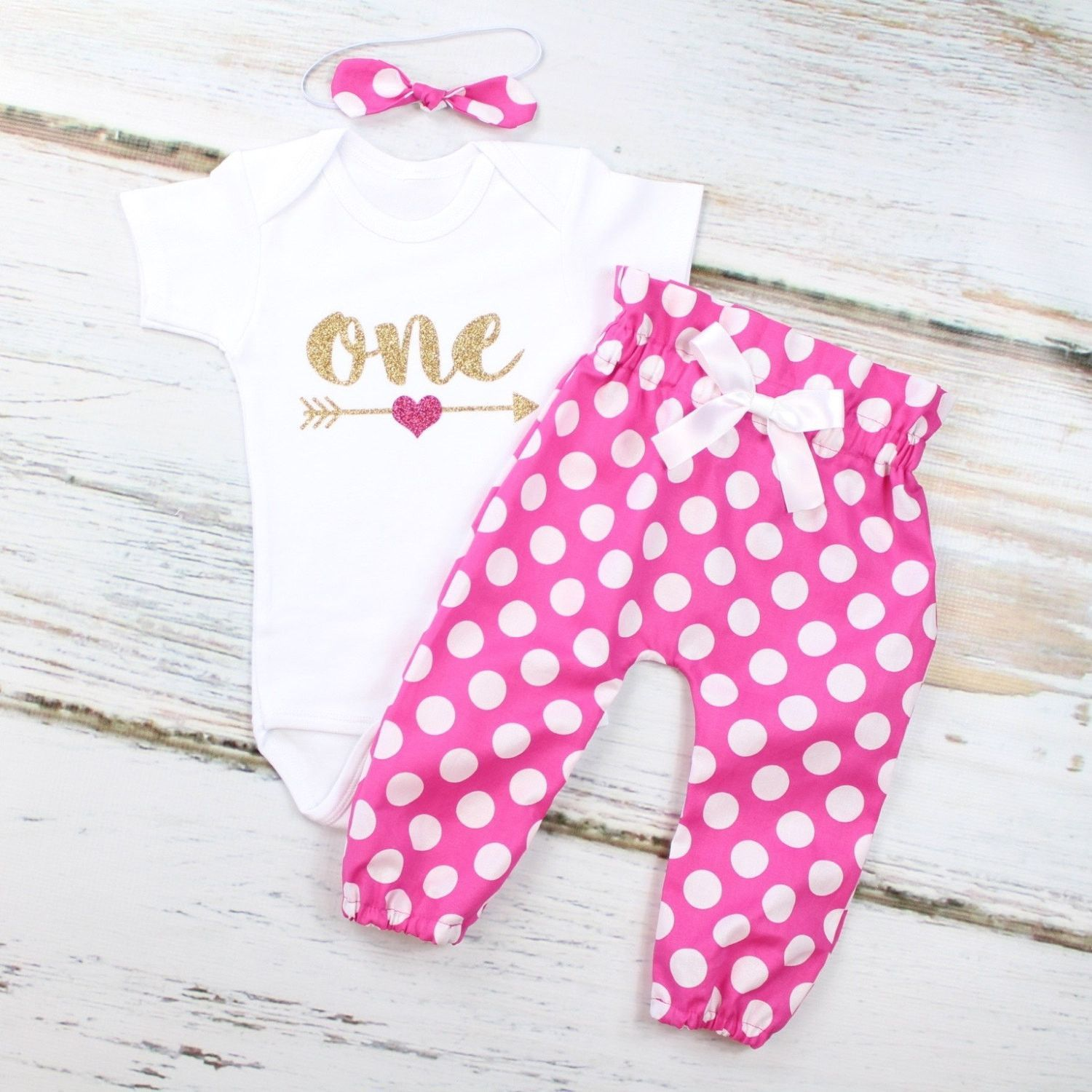189b7ebf5 Baby Girls 1st Birthday Outfit | Hot Pink w/ White Polka Dot High Waisted Pants  Outfit and Knotted Headband | Gold Arrow w/ Pink Heart