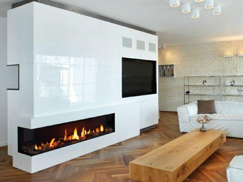 salones con chimenea modernos mesa madera ideas