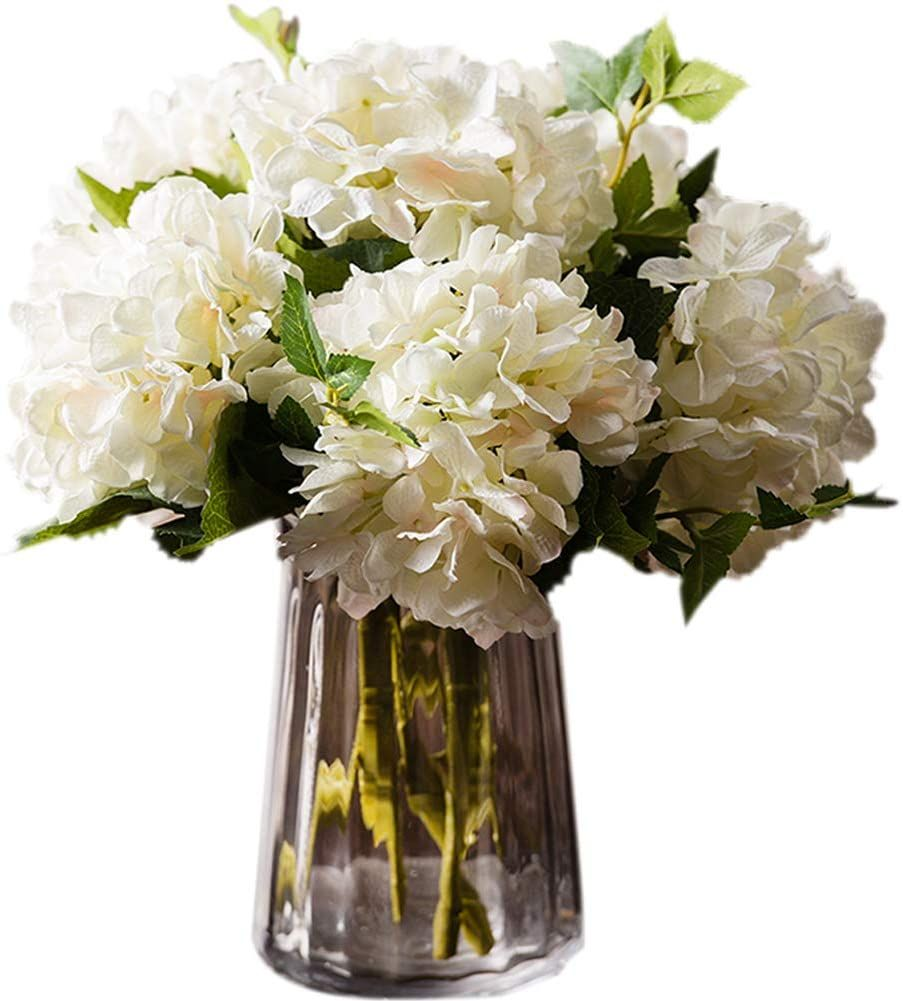 Fake White Hydrangea Flowers Are Made Of Silk Wire Wrapped With Plastics Is Used In 2020 Artificial Hydrangea Flowers Artificial Silk Flowers Wedding Wall Decorations