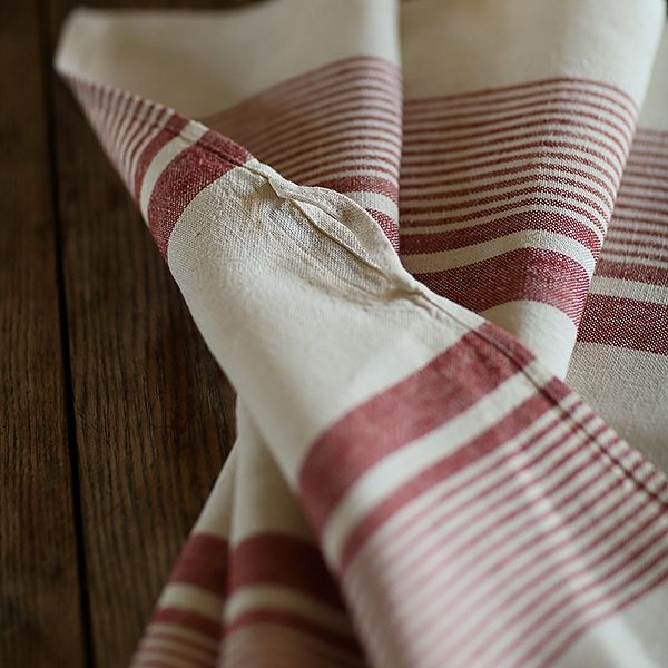 e6a3563076 Set of 2 Cream Red Striped Linen Kitchen Towels Antico