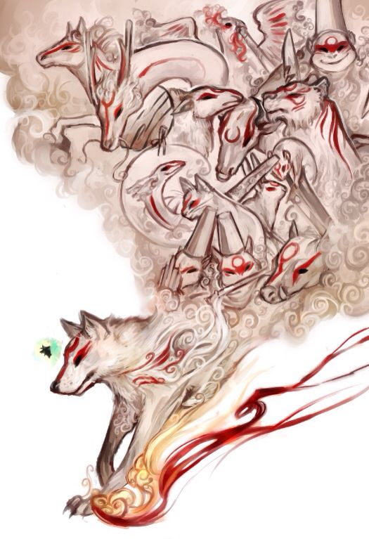 The 13 Brush Gods Okami Amaterasu Anime Wolf