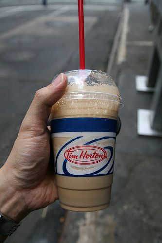 TIM HORTONS ICED CAPP // Ingredients: 10 to 12 Ice Cubes 1 Tbs instant
