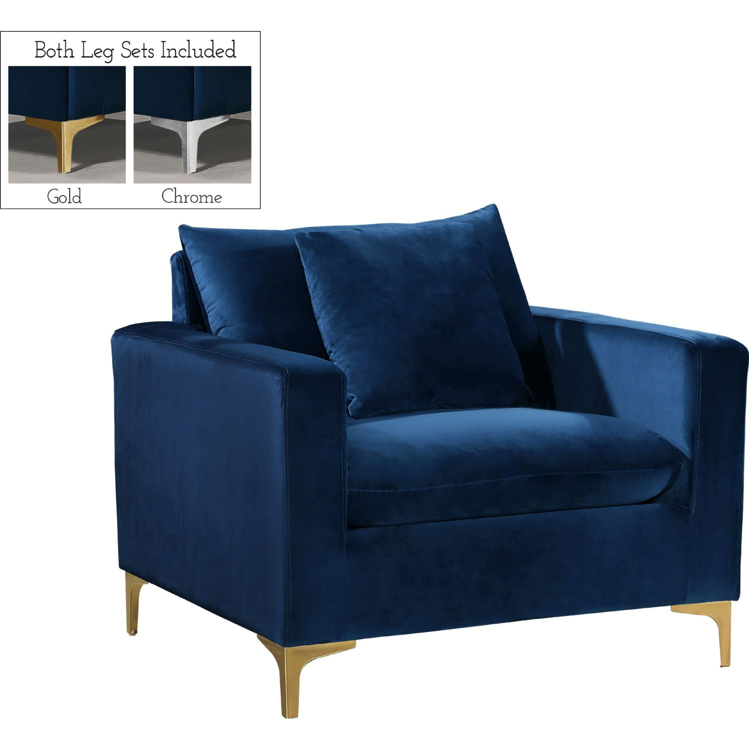 Meridian Furniture 633navy C Naomi Accent Chair Navy Velvet Gold