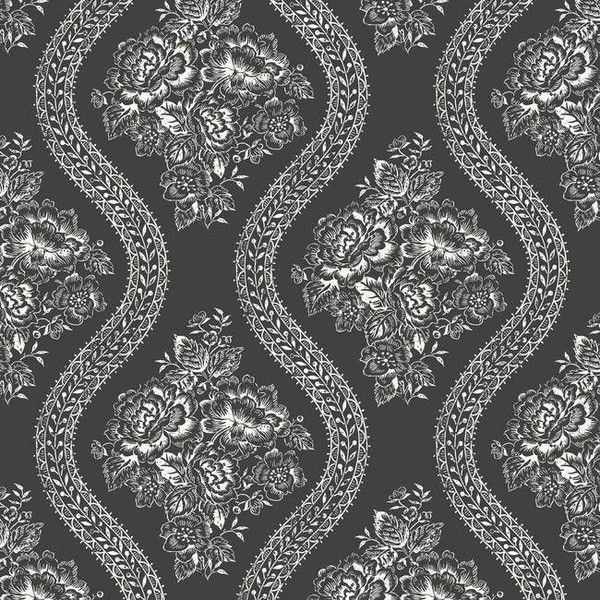 Coverlet Floral Wallpaper In Black And White From The Magnolia Home 35