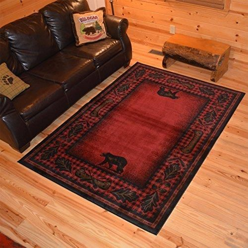 5 3 X 7 Red Black Southwest Animal Area Rug Rustic Southwestern Lodge Cabin Cottage Theme Leaf Carpet Canoe Branches Nature Forest Woods Hunting