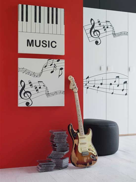 My music room is going to have song lyrics covering most walls. but the red accent is great!