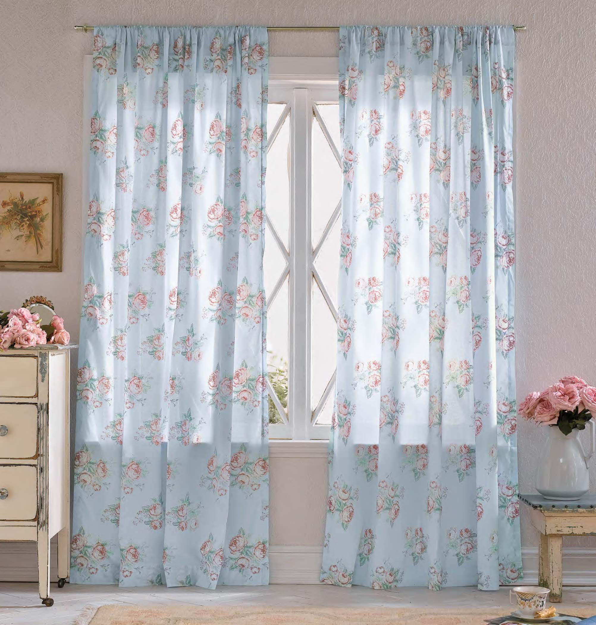 Simply Shabby Chic Voile Window Panel Cabbage Rose $19 99 at