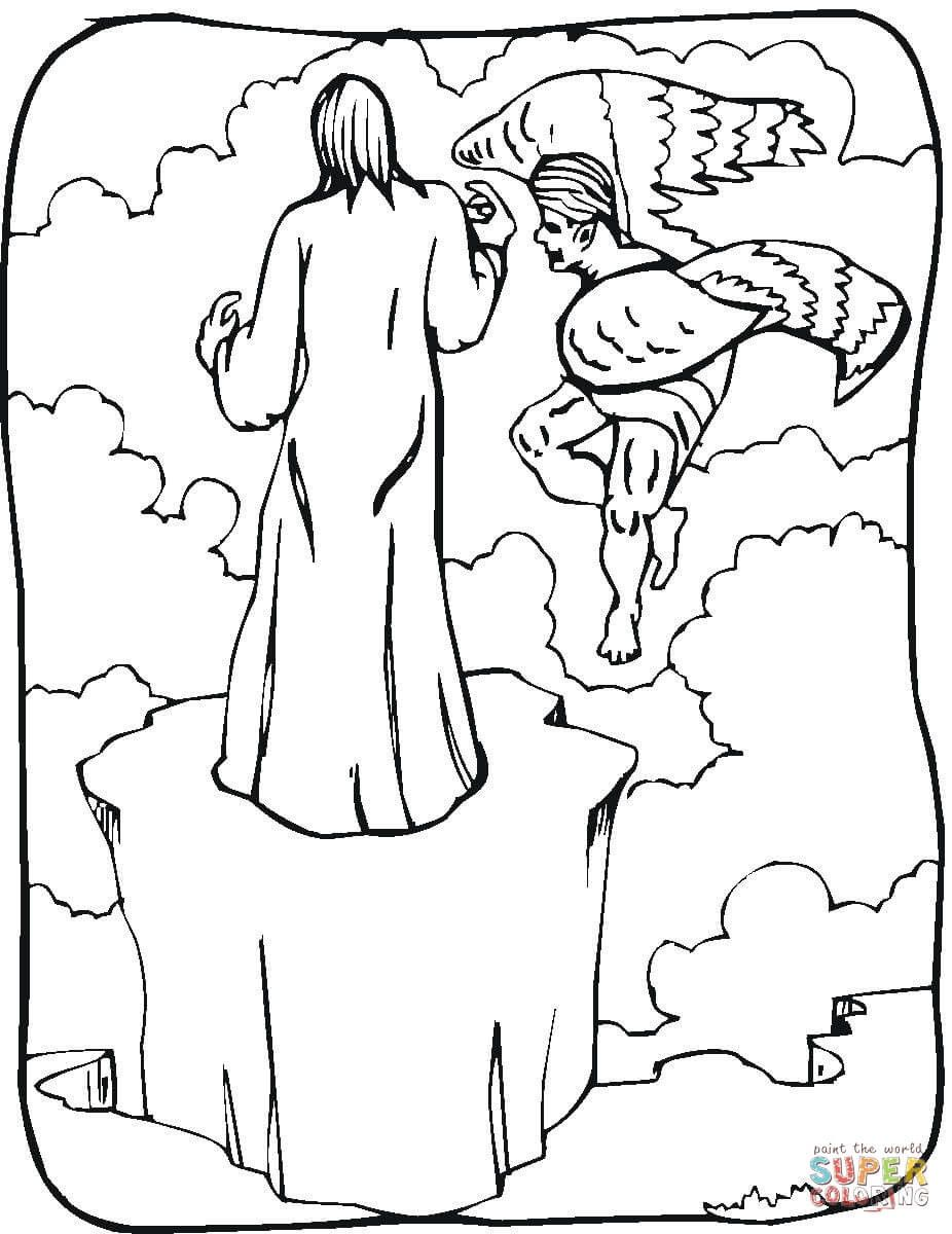 Temptation Of Jesus Coloring Page Pages Jesus Coloring Pages