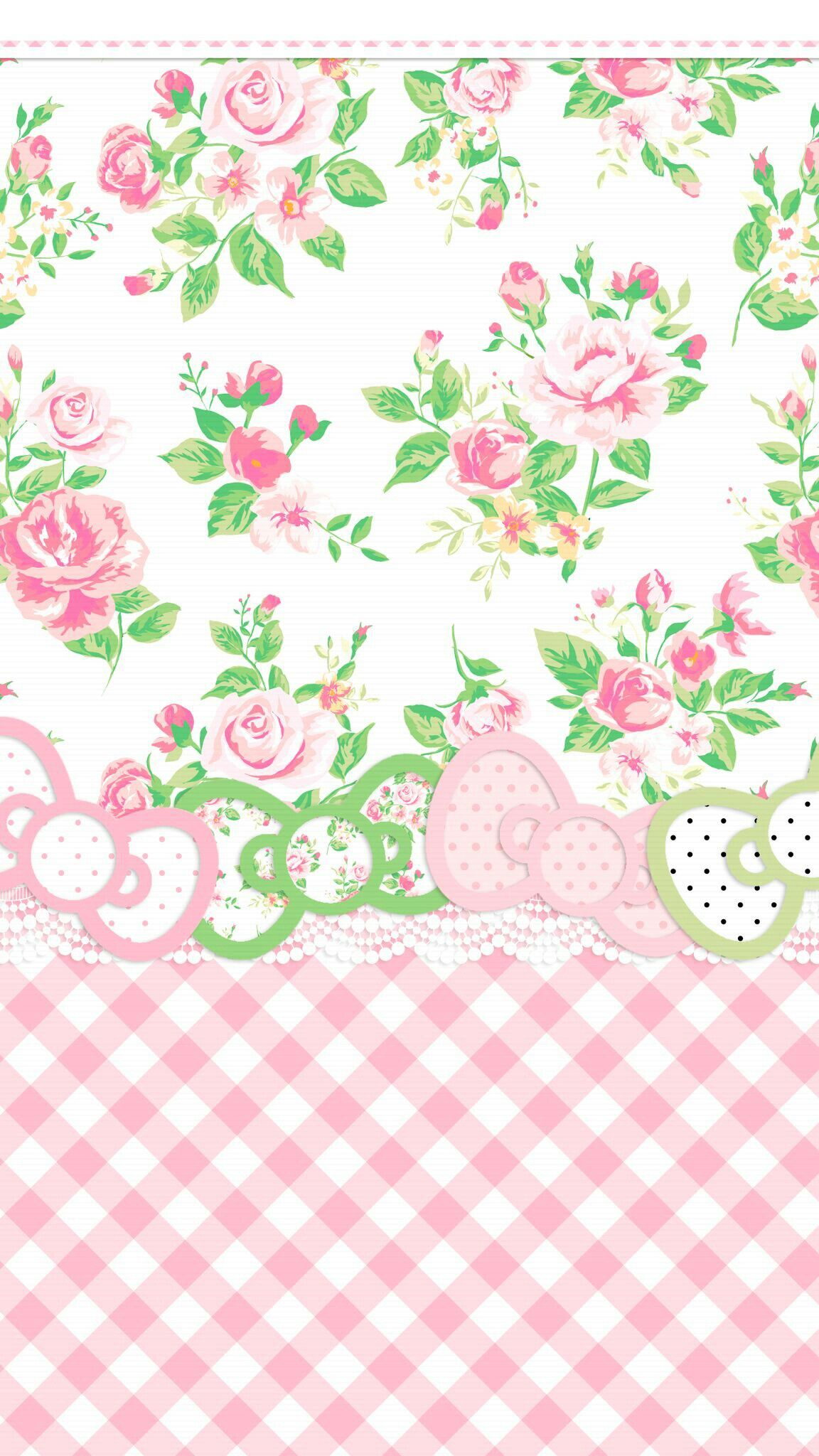 iPhone Wallpaper preppy pink & green gingham check