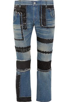 Junya Watanabe Patchwork low-rise straight-leg jeans | NET-A-PORTER