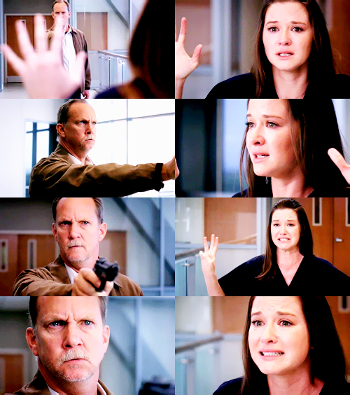 """A-""""My name- My name is April Kepner. I'm twenty-eight years old. I- I was born on April 23rd in Oh-Ohio. I'm from Columbus, Ohio. Umm, my mom- my mom is a teacher and my- my dad is a farmer. Corn- Corn- He grows corn. Their- Their names are Karen and Joe. I have three sisters. Libby's the oldest, I'm next- then there's Kimmy & Alice. I-I- haven't done anything yet. I haven't. I've barely lived. I'm not finished yet. No one's loved me and- please. I'm someone's child! I'm a person. I'm a…"""