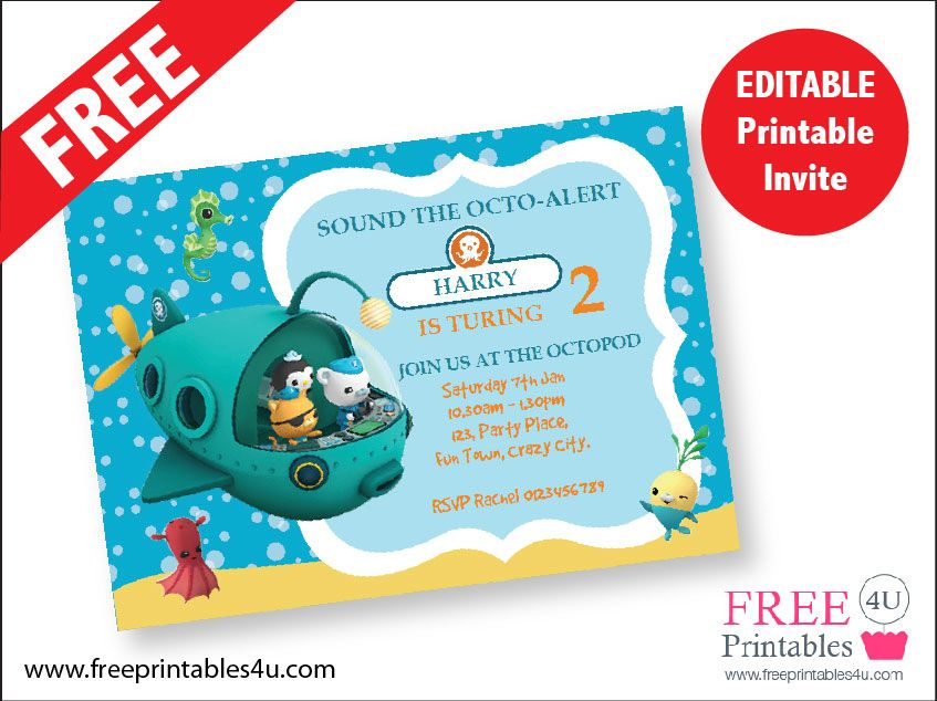 FREE Octonauts Invite freeprintables4u 5 Pinterest Octonauts