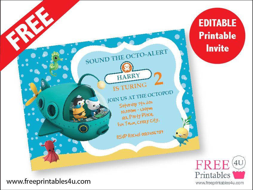 Free Octonauts Invite Freeprintables4u Octonauts Pinterest