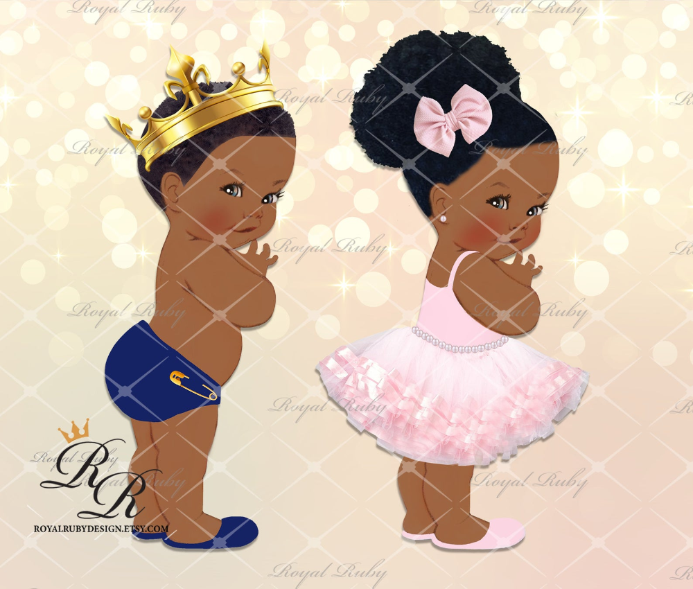 Baby Princess And Prince Afro Puff African American Baby Etsy In 2021 American Baby African American Babies Royal Prince Baby Shower