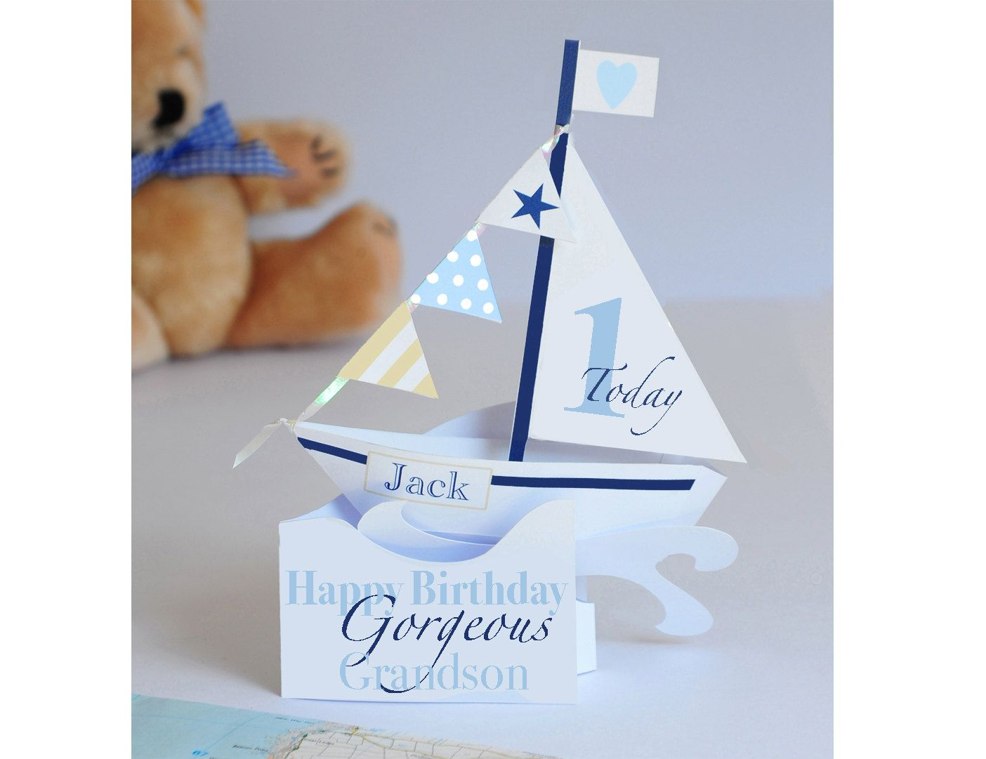 Personalised pop up sailing boat card for a boysgrandsonson personalised pop up sailing boat card for a boysgrandsonsongodsonnephews 1st birthday bookmarktalkfo Images