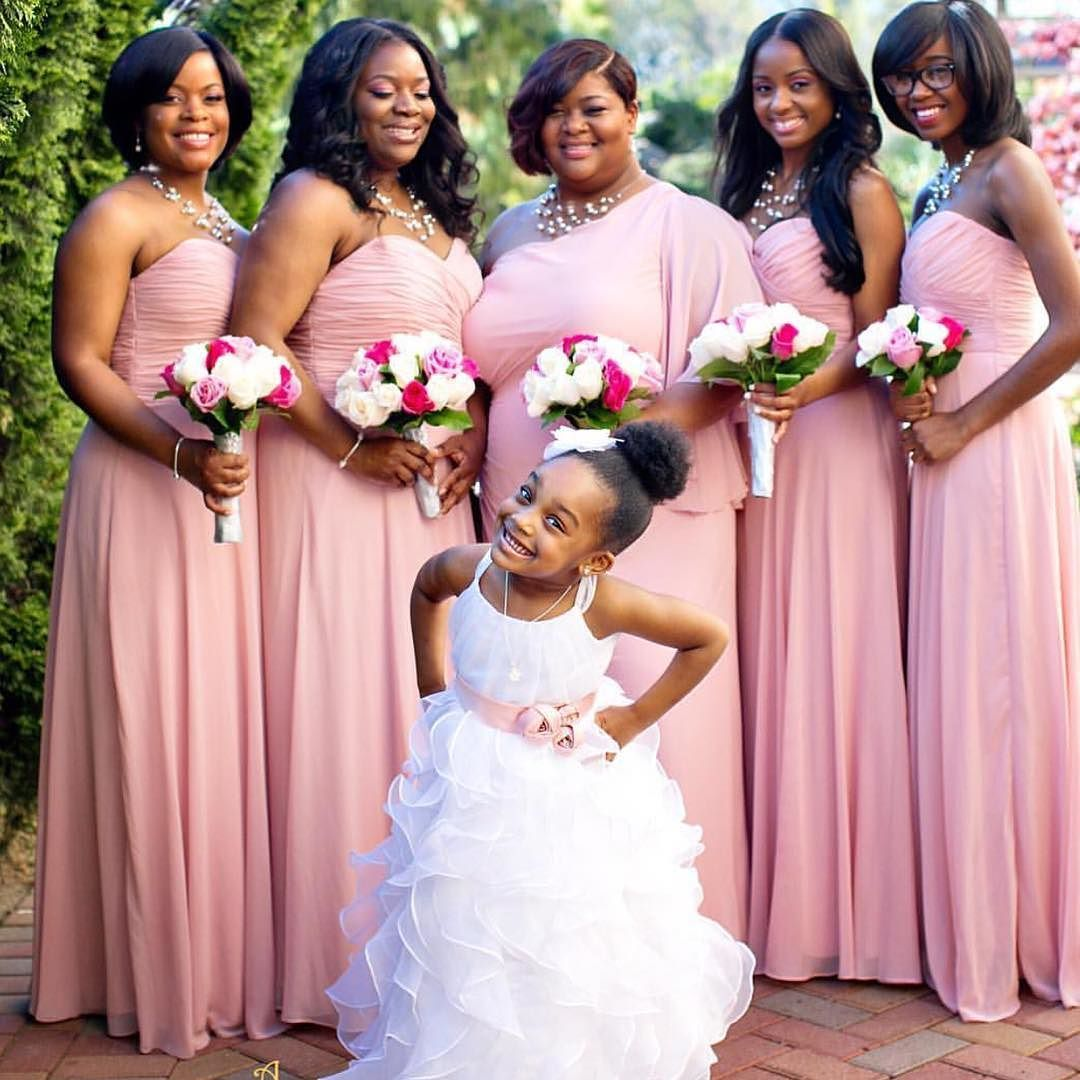 Pretty in pink #munabridesmaids! And the flower girl is such a cutie ...