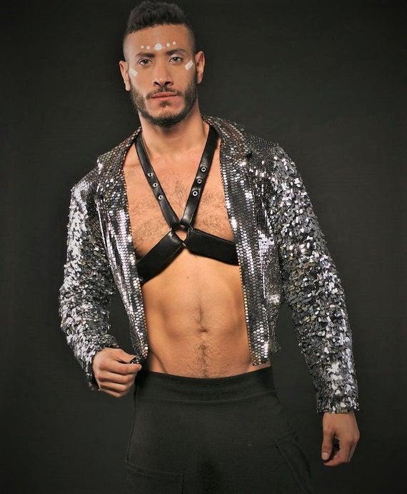 7d491e5e12 Silver Sequin Glitter Bomber Jacket Street wear Urban Fashion LGBT ...