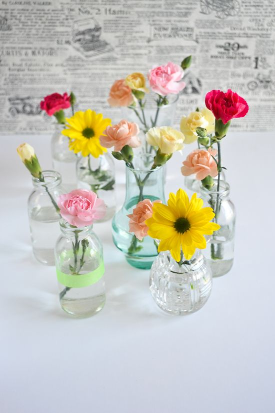 Decorating With Fresh Flowers Single Flowers In Small Vases