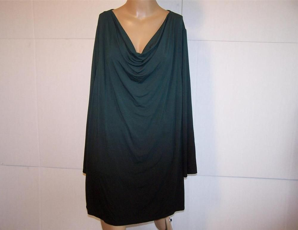 CATHERINES Shirt Top 2X Ombre Hunter Green Black Draping Neck Stretch Womens #Catherines #KnitTop #Casual